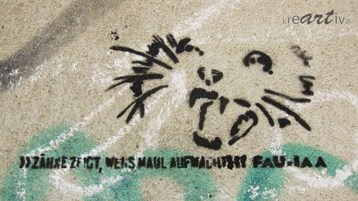 Zähne zeigt, wer's Maul aufmacht. Dresden Deutschland 2014.