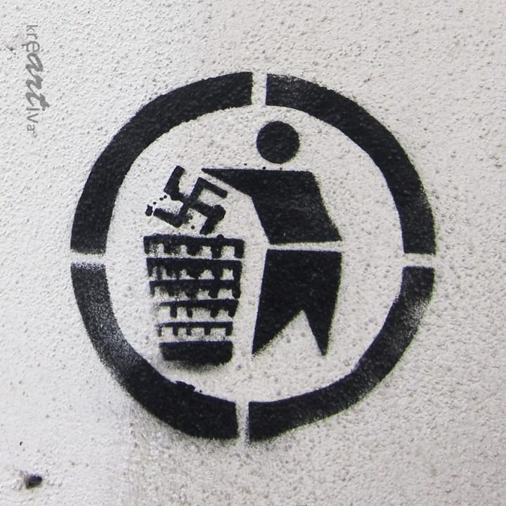 Please dispose of swastika properly – Hakenkreuz bitte fachgerecht entsorgen, Erlangen Germany 2014.