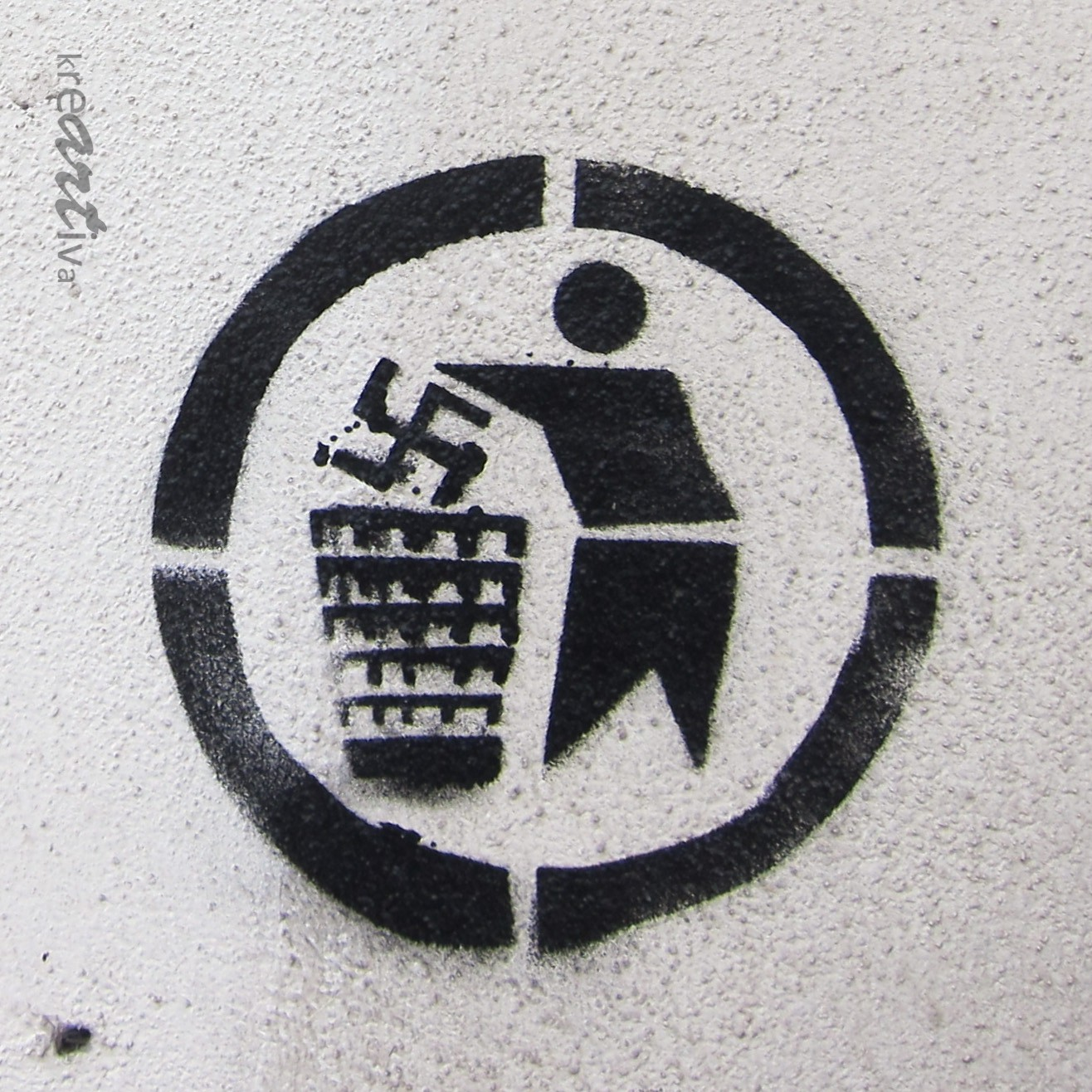 Please dispose of swastika properly – Hakenkreuz bitte fachgerecht entsorgen, Erlangen Germany 2014.
