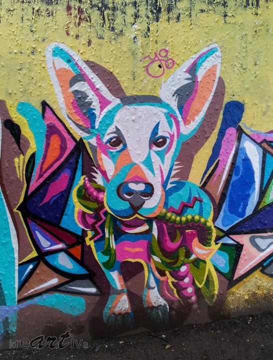 Bunter Hund, Stuttgart Deutschland 2014.